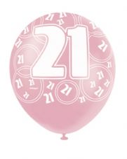21st Birthday Pink Glitz Latex Balloons 12 inch
